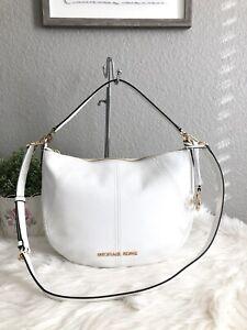 New Michael Kors Bedford Medium Crescent Shoulder Bag Leather Optic White