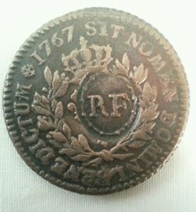 1767 a us french american colonies RF countermark xf ef extremely fine colonial