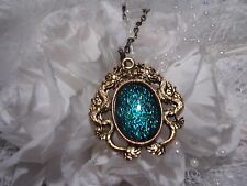 TEAL TURQUOISE Dragons BREATH Dragon BRONZE  Necklace Pendant MEDIEVAL GOLD
