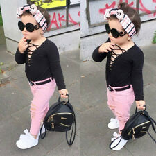 Kids Toddler Baby Girls Tops T-shirt+Long Jeans Denim Pants 2PCS Outfits Clothes