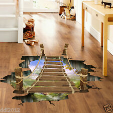 3D Bridge Floor/Wall Sticker Removable Mural Decals Vinyl Art Living Room Decors