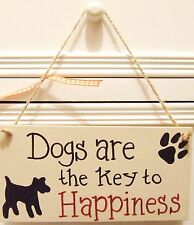 PERSONALISED PLAQUE SIGN HANDMADE DOGS ARE HAPPINESS ANY BREED SHABBY CHIC GIFT
