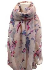 Pashmina Scarf Wrap Pink Blue Bird Print Summer Lightweight Accessories
