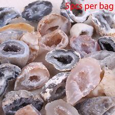 5Pcs Geodes Oco Agate Natural Crystals Druzy Halves Quartz Specimens 6H