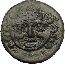 Kamarina Sicily 413BC Gorgoneion Owl Lizard Authentic Ancient Greek Coin i51603