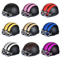 Kart Motorcycle Scooter Open Face Leather for Harley Half Helmet Vintage Goggles