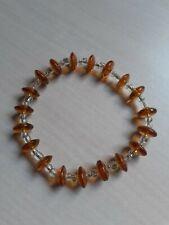 Amber colored glass bead bracelet