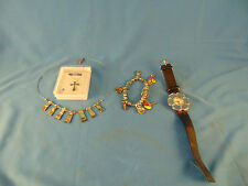 Lot of jewelry necklace cross abalone bracelet beach surfing flower watch used