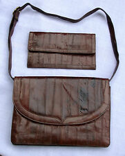 vtg EEL Skin Shoulder Purse Bag  Wallet Billfold ladies dark brown unused As Is