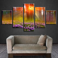 Forest Trees Sunset Rays Lavender Field 5 Panel Canvas Print Wall Art Home Decor