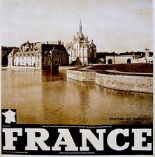1940 ORGINAL French TRAVEL TOUR POSTER Photogravure CHATEAU DE CHANTILLY Affiche