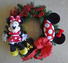 "Disney Minnie Mouse Plush & Ear Hat 23"" Christmas Wreath Handmade Holiday Wreath"