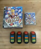 Buzz Quiz TV (Sony PlayStation 3, 2008) PS3 Game w/ Buzzers *NO DONGLE*