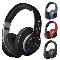 Bluetooth 5.0 Headset Wireless Earphone Bass Over-Ear Music Headphones LED Light