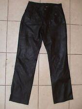 Harley-Davidson Women's Black Genuine Leather Pants Size 30/2 Motorcycle Biker