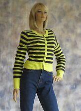 VERA WANG PRINCESS Sweater Cardigan Sz S Jr  Zip Up Yellow Black Stripe Cotton