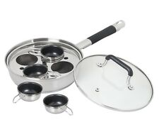 CONCORD Premium Stainless Steel Egg Poacher w 4 Nonstick Cups Specialty Cookware