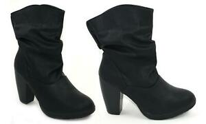 Womens Black Mid Calf Block Heel Boot-Ladies Slouch Style Ankle Boot SIZE 3-8