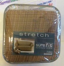 Surefit Furniture Covers Stretch 2 piece Loveseat Cocoa/Cream # 15288 Brand New