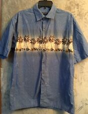 Pierre Cardin Mens Hawaiian Shirt Short Sleeve Palm Tree Print Size L
