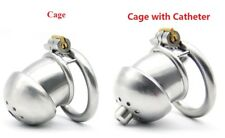 Male Chastity 43mm Penis Cage Device Stainless Steel CBT Catheter Dilator Plug