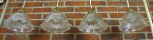 """4 x Holophane Style Ribbed Glass Pendant Light Lamp Shades and Galleries 9"""" Dia"""