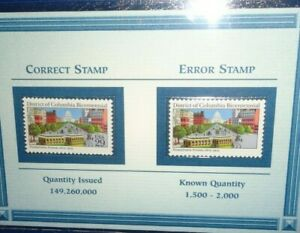 1991 District of Columbia Bicentennial Error Stamp w/ Correct Stamp in Folder