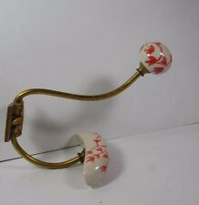 VINTAGE  BRASS  PAINTED PORCELAIN WALL MOUNT COAT/ ROBE/TOWEL  HANGER