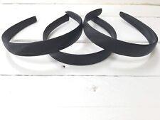 Pack of 3 Black Plain Satin Hairbands Headbands Alicebands 2cm Width