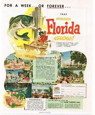 1954 STATE OF FLORIDA Tourist Bureau For a Week or Forever art Vtg Print Ad
