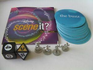 Disney Scene It 2004 Board Game Original Parts DVD Tokens Movers Buzz Cards Dice