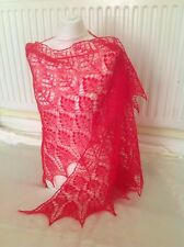 KID MOHAIR BLEND HANDKNITTED COBWEB LACE SHAWL/SKARF INTENSE SCARLETT RED