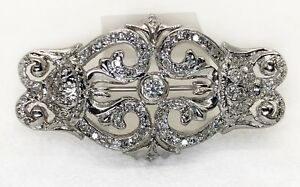 Vintage Art Deco 14k White Gold 1.19 Ct Natural Diamond Pin Brooch Pendant 44 MM