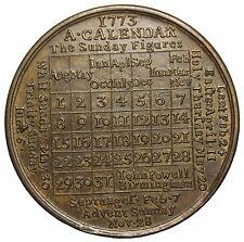1773 Birmingham Great Britain Calendar Medal By John Powell England