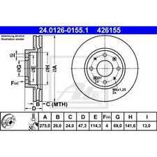 ATE 2x Bremsscheiben belüftet beschichtet 24.0126-0155.1