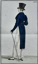 COSTUME PARISIEN GRAVURE ORIGINALE DE 1820 , COLORIS D'EPOQUE,  N°1901