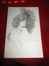 Vintage 1970's Pencil Sketch Drawing Women Portrait Artist signed