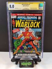 MARVEL PREMIERE #1 CGC SS 8.0 2X SIGNED STAN LEE ROY THOMAS 1ST WARLOCK (1972)