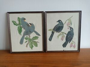2 x Vintage handpainted New Zealand Native Bird Paintings on fabric - unsigned