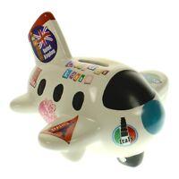 Spardose Flugzeug Urlaubskasse aus Keramik Sparbüchse Sparschwein Reisekasse