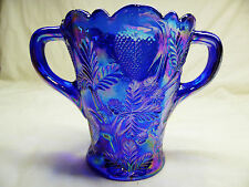 Depression Style Glass Spooner, Candy Dish, or Vase - Blue Carnival