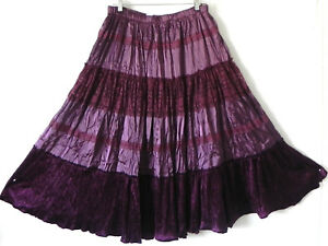 NWT Pretty Angel Skirt Flared Silk Blend Lace Trim Purple Crinkle Size M