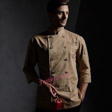 New Mens Womens Kitchen Chef Uniforms Short Sleeve Restaurant Work Jackets Coats