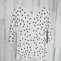 GAP Women's Size Small Cardigan Sweater Ivory Gray Polka Dot