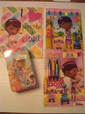 Disney Doc Mcstuffins NIP Coloring Book Paint Book Uno Game and Folder