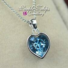 18K White Gold Plated Heart Cut Pendant Necklace Made With Swarovski Crystal
