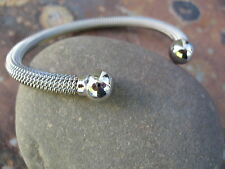 Stainless Steel Cuff Bangle Bracelet Cable Mesh w/ Shiny Ball End Caps Flexible