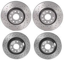 Brembo Xtra Front & Rear Brake Disc Rotors Drilled Kit For A3 TT Q S3 GTI Passat