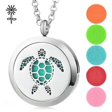 30mm Hollow Turtle Aromatherapy Essential Oil Diffuser Locket Pendant Necklace