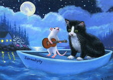 Tuxedo kitten cat mouse boat moonlight serenade OE aceo print art